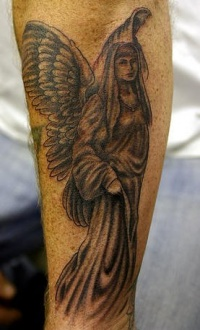 Memorial black angel tattoo