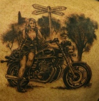 black and white motorcycle tattoo