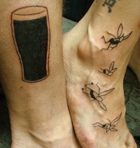 Beer and mosquitoes black ink tattoo