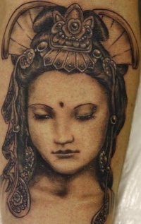 Beautiful geisha black ink tattoo